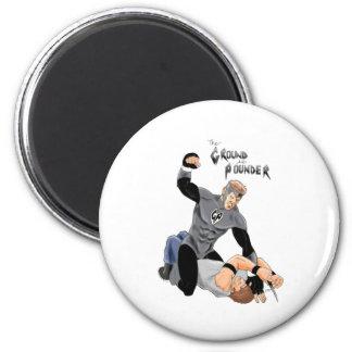"MMA Supehero "" The Ground and Pounder"" 6 Cm Round Magnet"