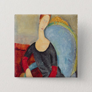 Mme Hebuterne in a Blue Chair, 1918 15 Cm Square Badge