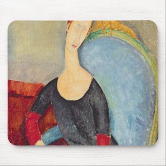 Mme Hebuterne in a Blue Chair, 1918 Mouse Mat