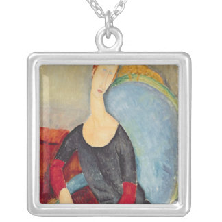 Mme Hebuterne in a Blue Chair, 1918 Silver Plated Necklace