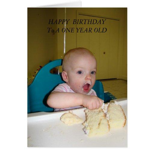 MMMMM Birthday Cake, HAPPY  BIRTHDAY, ONE YEAR OLD Greeting Card