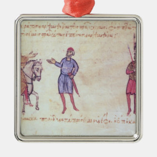 MMS Vitr 26-7 The Byzantine Army Putting to Flight Silver-Colored Square Decoration