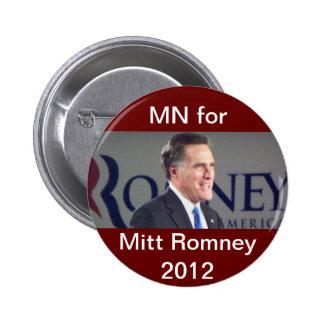 MN for Mitt Romney 2012 Political Button