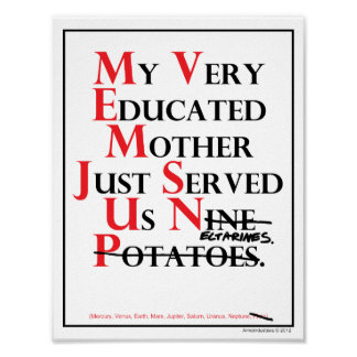 Mnemonic: My Very Educated Mother = Planets Poster