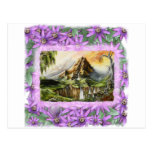 mnt with prple flowers frame post cards
