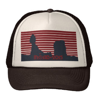 MOAB ALL RED with TAG LINE Brown Trucker Cap