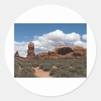 moab utah arch round sticker