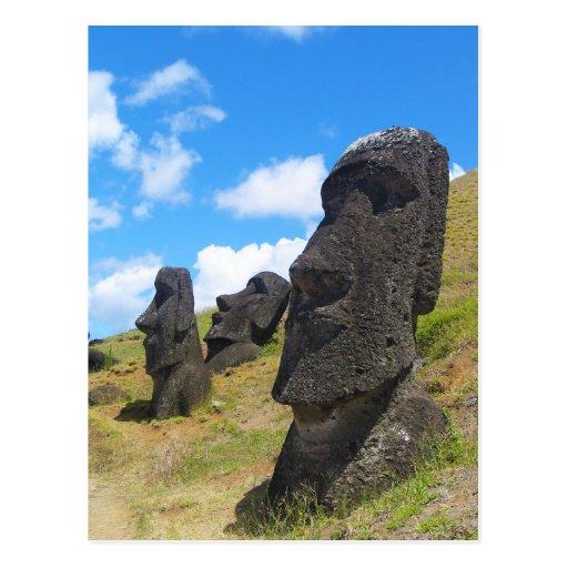 Moai at Rano Raraku Easter Island Postcards