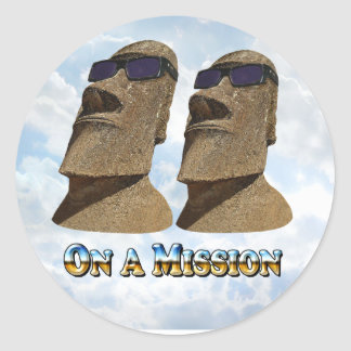 Moai On A Mission 2 - Mult Products Round Sticker