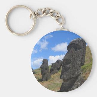 Moai on Easter Island Basic Round Button Key Ring