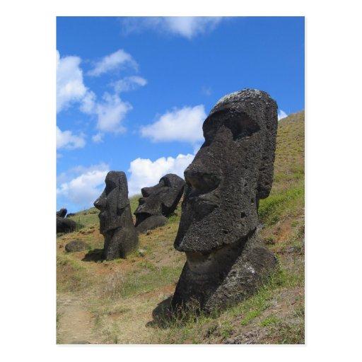 Moai on Easter Island Postcards