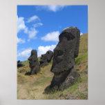 Moai on Easter Island Poster