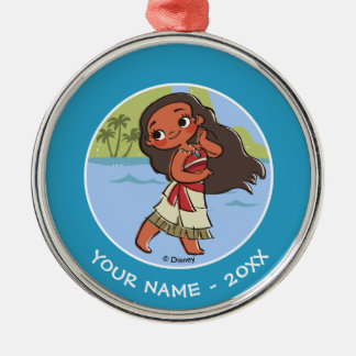 Moana   Island Girl Silver-Colored Round Decoration