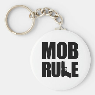 Mob Rule Hand Gun Basic Round Button Key Ring