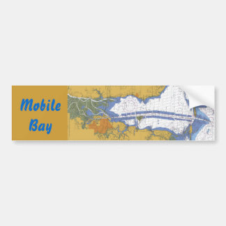 Mobile Bay Nautical Chart Bumper Sticker Car Bumper Sticker