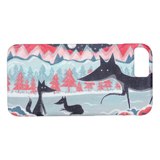 Mobile case with cute black foxes