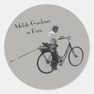 Mobile Gardener in Peru Classic Round Sticker