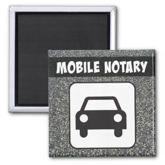 Mobile Notary Public Car Sign over Asphalt Magnet
