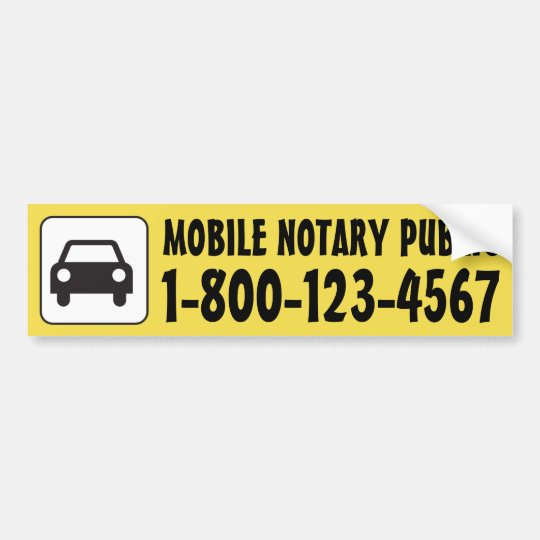 Mobile Notary Public Car with Phone Number Bumper