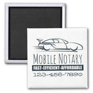 Mobile Notary Public Fast Car with Phone Number Magnet