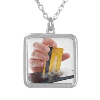 Mobile payment square pendant necklace