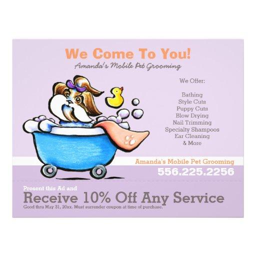Mobile Pet Groomer Shih Tzu Purple Coupon Ad Flyer Design
