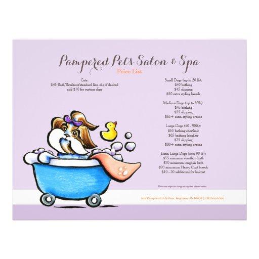 Mobile Pet Groomer Shih Tzu Purple Price Sheet Flyer