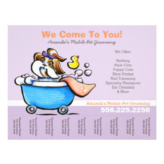 Mobile Pet Groomer Shih Tzu Purple Tear Sheet 21.5 Cm X 28 Cm Flyer
