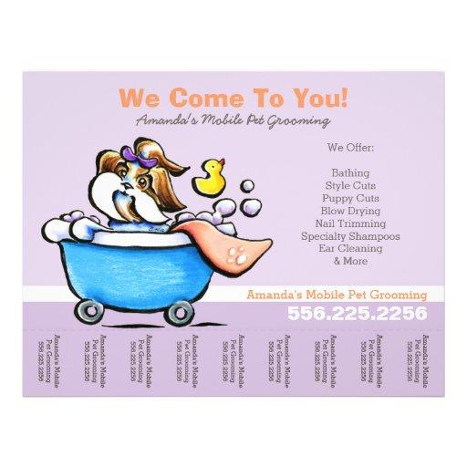 Mobile Pet Groomer Shih Tzu Purple Tear Sheet Full Color Flyer