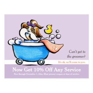 Mobile Pet Grooming Shih Tzu Purple Coupon Mailer Postcards