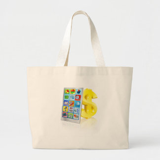 Mobile phone and gold dollar sign bags