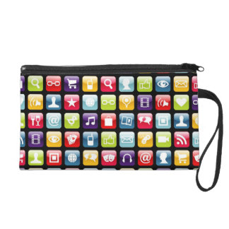 Mobile Phone App Icons Pattern Wristlets