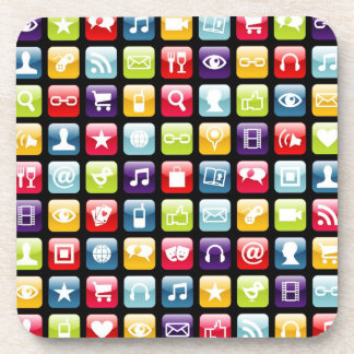 Mobile Phone App Icons Pattern Beverage Coaster