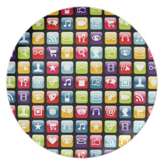 Mobile Phone App Icons Pattern Dinner Plate