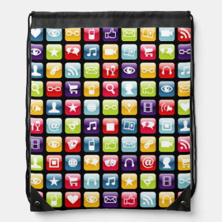 Mobile Phone App Icons Pattern Drawstring Bag