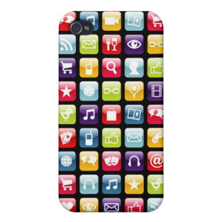 Mobile Phone App Icons Pattern iPhone 4/4S Case