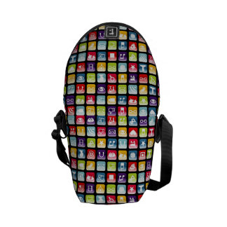 Mobile Phone App Icons Pattern Messenger Bags
