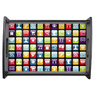Mobile Phone App Icons Pattern Food Tray
