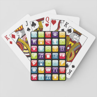 Mobile Phone App Icons Pattern Playing Cards