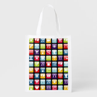 Mobile Phone App Icons Pattern Reusable Grocery Bag