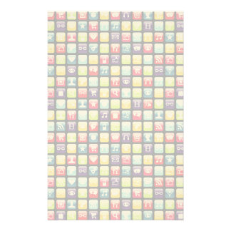 Mobile Phone App Icons Pattern Customized Stationery