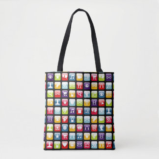 Mobile Phone App Icons Pattern Tote Bag