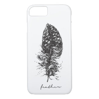 Mobile phone case hand-darwn feather