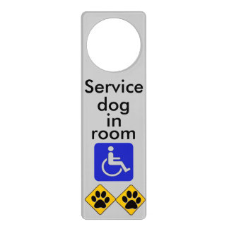 Mobility service dog in room door hanger