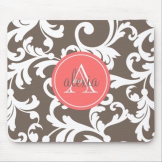 Mocha and Coral Monogrammed Damask Print Mouse Mat