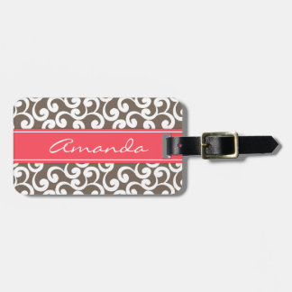 Mocha and Coral Monogrammed Elements Print Luggage Tag