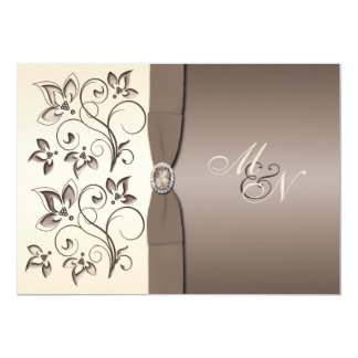 Mocha and Ivory Floral Monogram Invitation