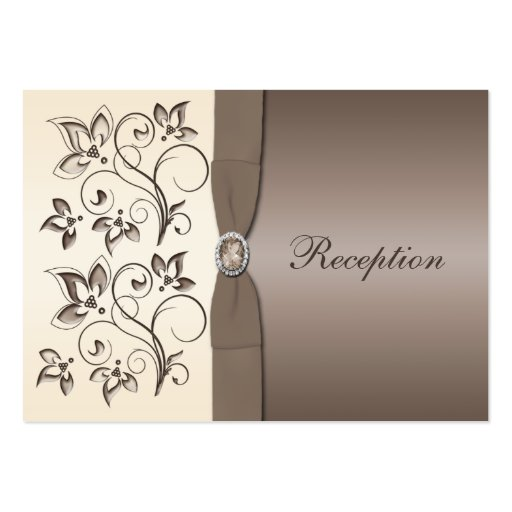 Mocha and Ivory Floral Reception Card Business Cards