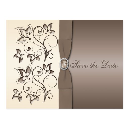 Mocha and Ivory Floral Save the Date Postcard