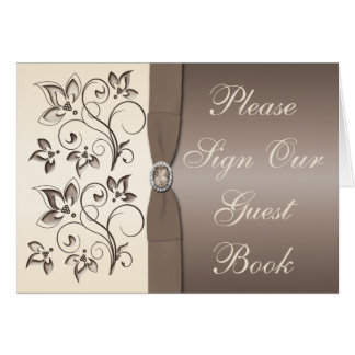Mocha and Ivory Floral Table Card Card